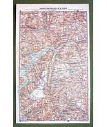 NORWAY Fjords Indre Hardenger & Voss - 1892 MAP... - $5.88