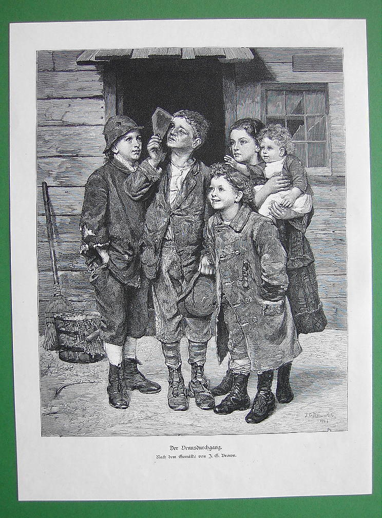 CHILDREN Watch Sun Eclipse by Planet Venus  - VICTORIAN Antique Print