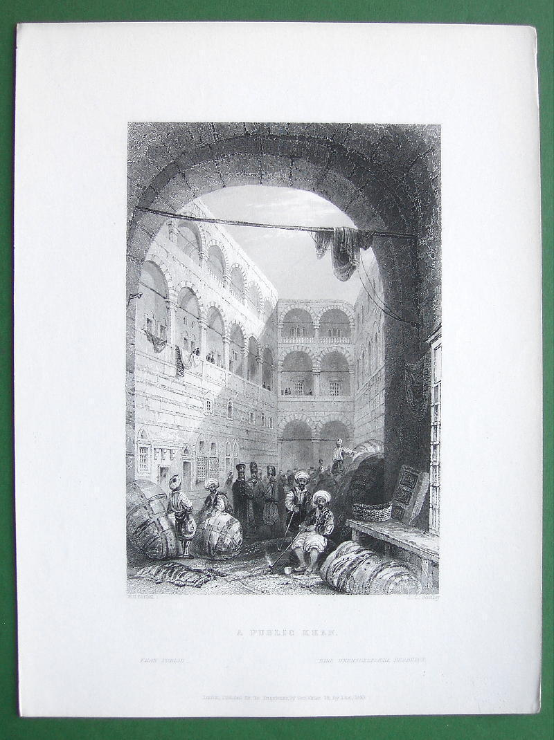 CONSTANTINOPLE Public Khan or Hotel - BARTLETT Antique Print Engraving