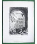 CONSTANTINOPLE Public Khan or Hotel - BARTLETT Antique Print Engraving - $18.51