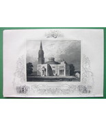 VIRGINIA Richmond Episcopal Church - 1840 Original Print Ornamental Border - $12.20
