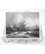 WINTER SOLITUDE Freezing Weather River Trees - Antique Print Ornamental ... - $15.15