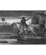 ORIGINAL ETCHING 1883 Print - HORSE Pull Boat in River - $16.82