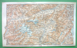 1896 MAP ORIGINAL Baedeker - ITALY North Alps M... - $5.89