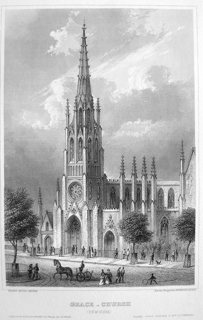NEW YORK Grace Church on Broadway - Antique Print Engraving