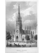 NEW YORK Grace Church on Broadway - Antique Print Engraving - $8.00
