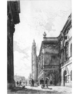 ORIGINAL ETCHING Print Cambridge University Sen... - $37.03