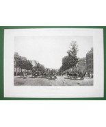 PARIS Daily Scene on Champs Elysees Horse Carts - Victorian Era Print - $11.78