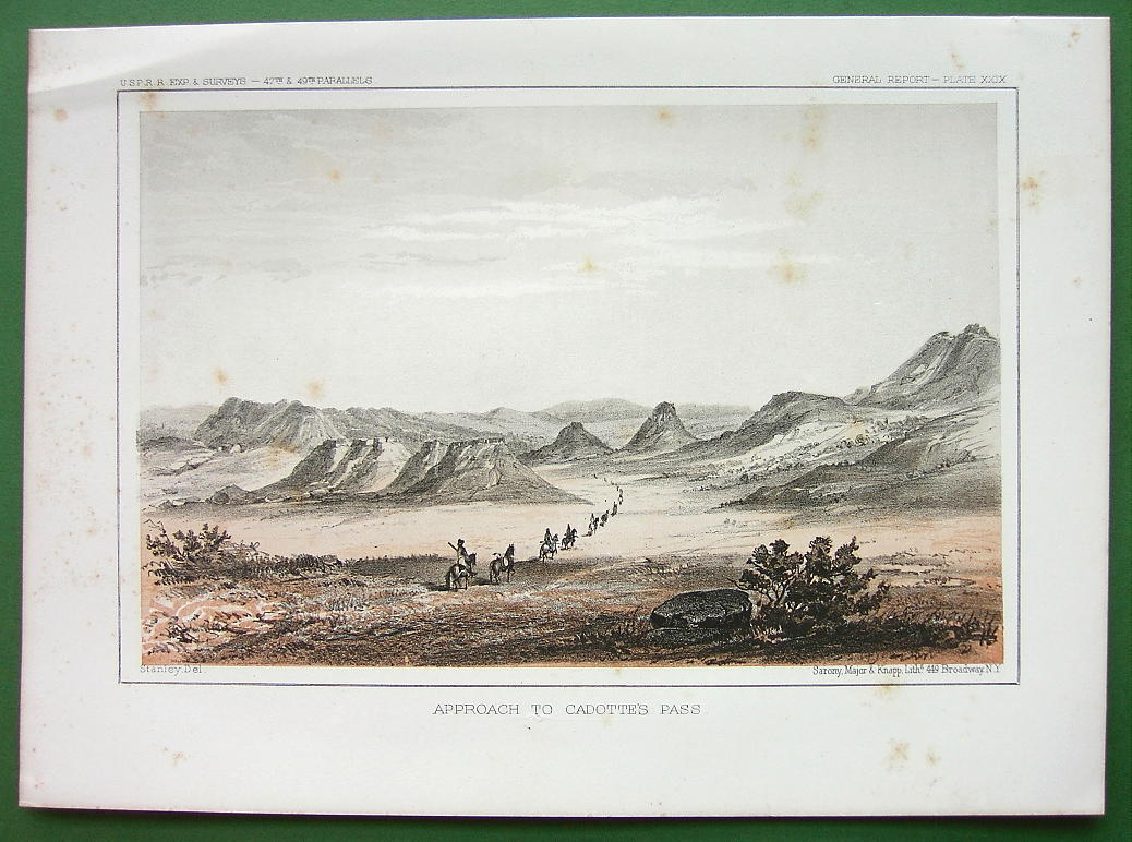 AMERICAN WEST Montana Approach to Cadotte's Pass - 1850s Tinted Litho Print