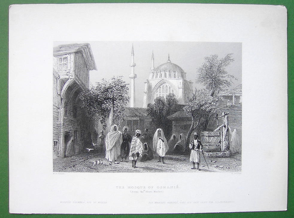CONSTANTINOPLE Mosque of Sultan Osmanie - BARTLETT Antique Print