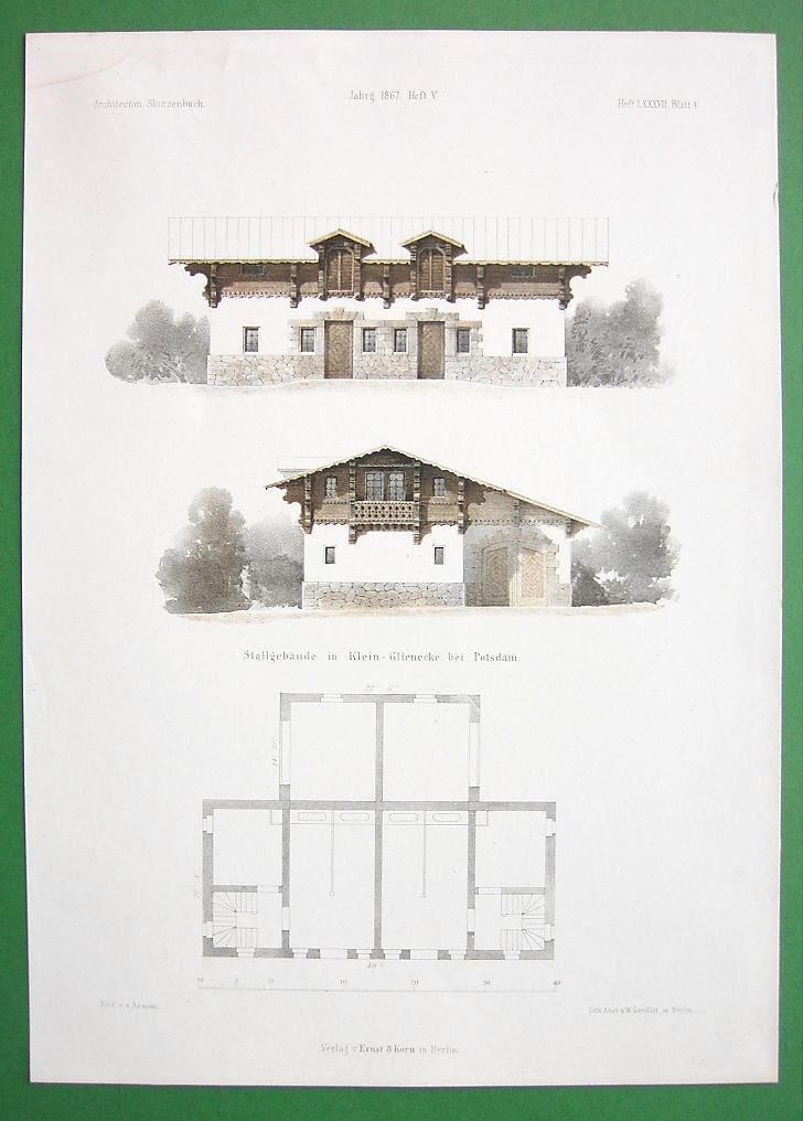 ARCHITECTURE COLOR PRINT : Potsdam Hunting Lodge Glienecke Stalls Building