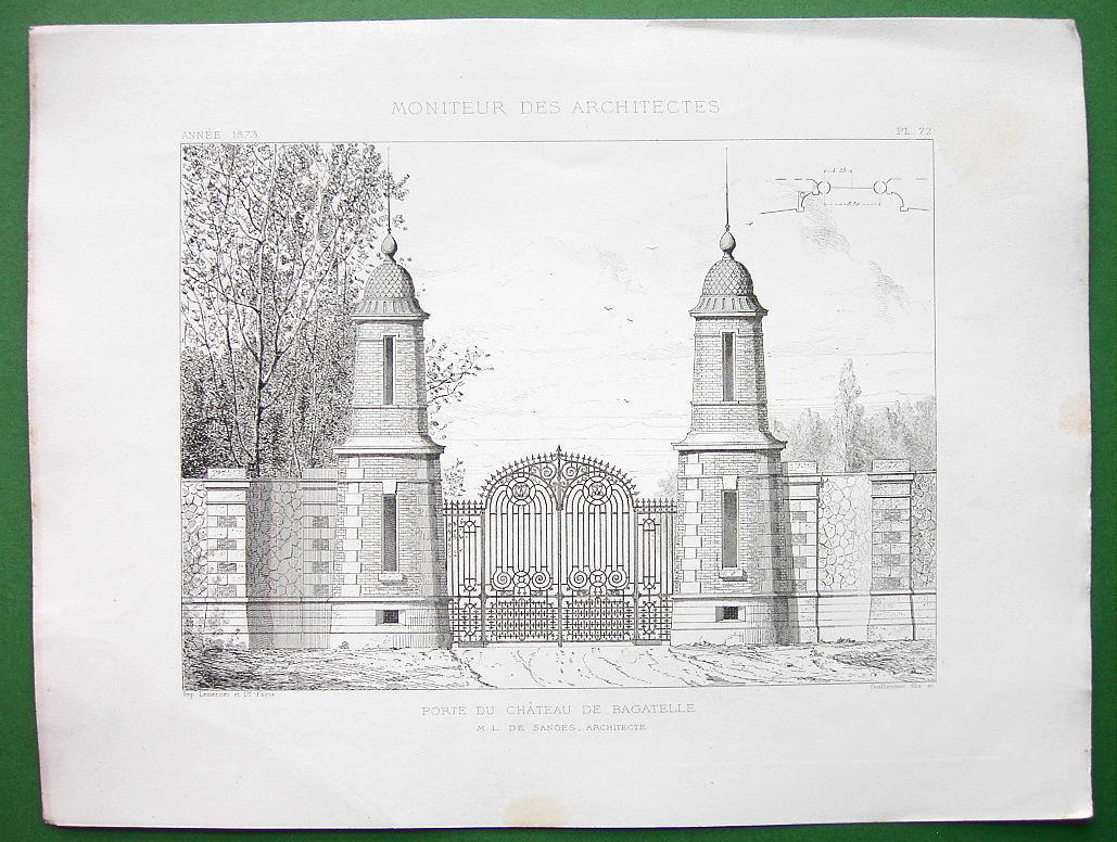 ARCHITECTURE PRINT : Paris Gate to Castle Bagatelle Bois de Boulogne