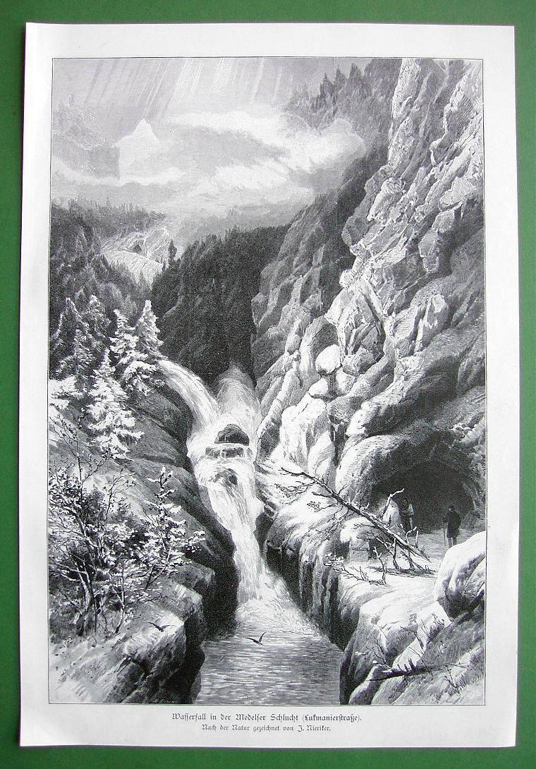 SWITZERLAND Alps Waterfall in Lukmanier Pass - VICTORIAN Era Antique Print