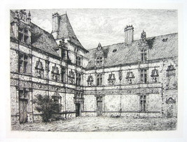 ORIGINAL ETCHING Eau Forte !! France Castle Montal View in Courtyard - $8.41
