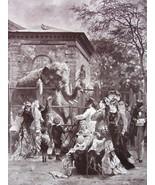 ELEPHANT in Paris Botanical Garden - Original G... - $15.15