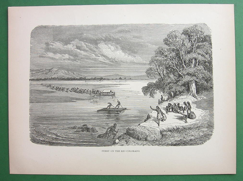 RIO COLORADO Ferry Mohave Indians American West - 1858 Antique Print