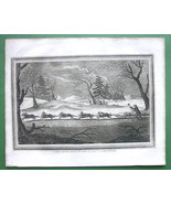 KAMTSCHATKA Snow Sledge Drawn by Dogs - 1814  Copperplate Engraving Print - $18.51