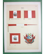 PERU Coat of Arms Naval Flags Jack Merchant Pen... - $16.41