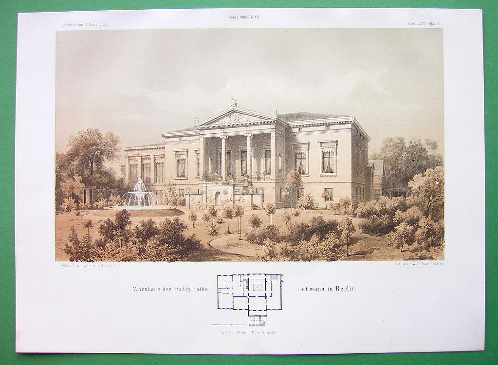ARCHITECTURE TINTED LIETHO PRINT : Berlin Residence of Lehmann Family