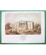 ARCHITECTURE TINTED LIETHO PRINT : Berlin Residence of Lehmann Family - $39.59