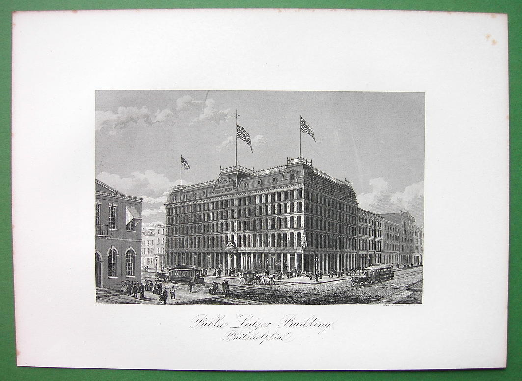 PHILADELPHIA Public Ledger Building on CHestnut Street - 1876 Antique Print