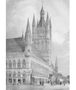 BELGIUM View of Ypres Town Hall - SUPERB Litho ... - $39.59