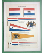 HOLLAND Coat of Arms Royal Standard Naval Flags... - $16.41