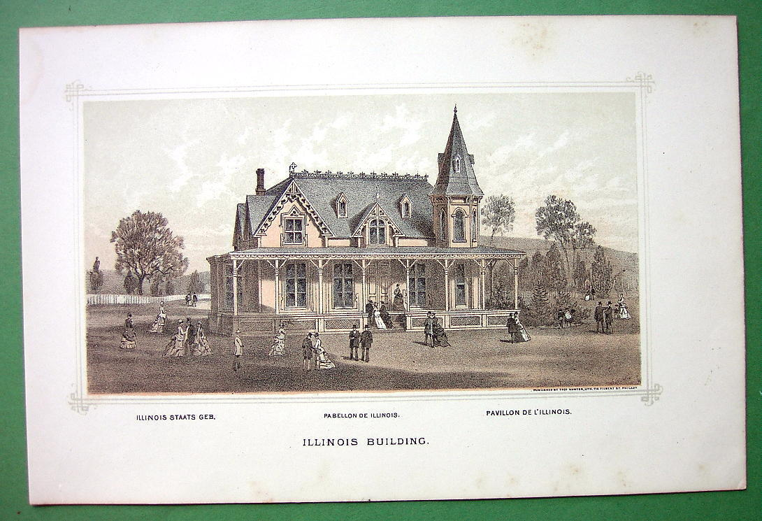 ILLINOIS Budiling at PHILADELPHIA EXPOSITION of 1876 - Antique Litho Print