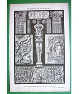 RENAISSANCE Wood & Stone Carvings - Litho Antiq... - $8.42