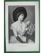 LOVELY MAIDEN Holding Fan Hat Pensive Memory - ... - $8.41