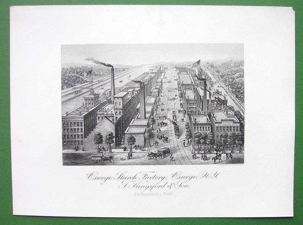 NEW YORK Oswego Starch Factory - SCARCE Antique Print Engraving