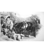 PAGE Return From Hunt Horse Dogs - 1844 Original Lithotint Print by F. T... - $46.28
