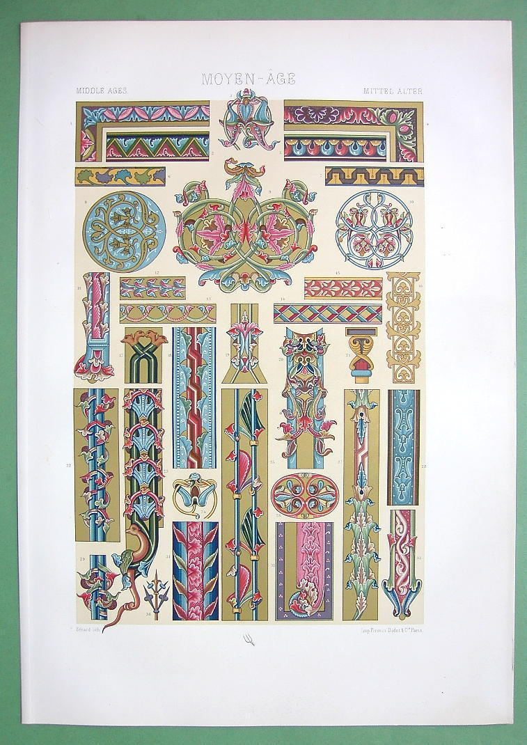 MANSUCRIPT Ornaments Bible Gallo Grankish - COLOR Litho Print by Racinet