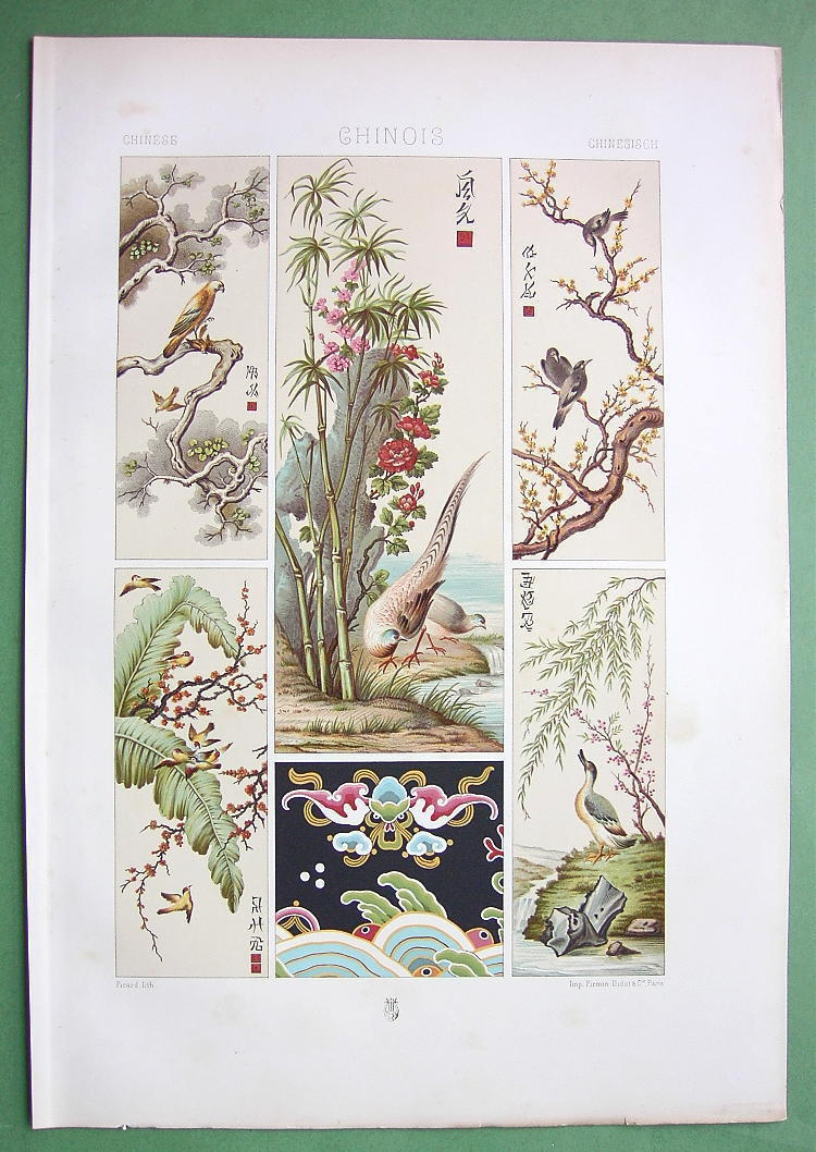 CHINA Decorative Paintings Birds Flowers - COLOR Litho Print by Racinet