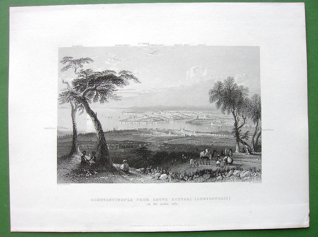 CONSTANTINOPLE View from Mount Burgurlhu - 1840s Original Antique Print