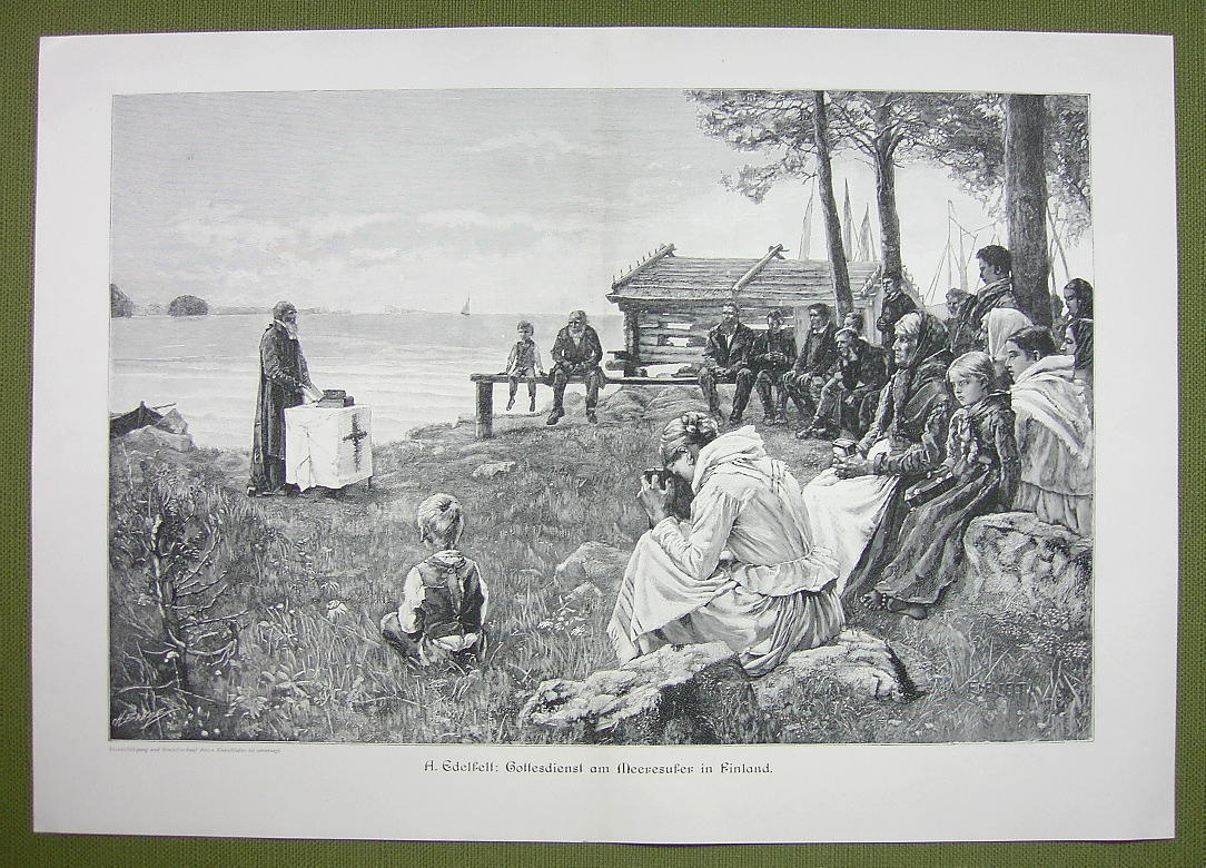 "FINLAND People Praying on Sea Coast - VICTORIAN Era Engraving Print 14"" x 22"""