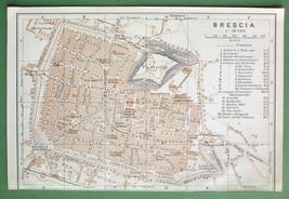 1909 MAP ORIGINAL Baedeker - ITALY Brescia City... - $4.20