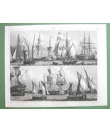 SAILSHIPS Various Rigs Smacq Barque Coaster - SUPERB 1844 Antique Print ... - $37.03