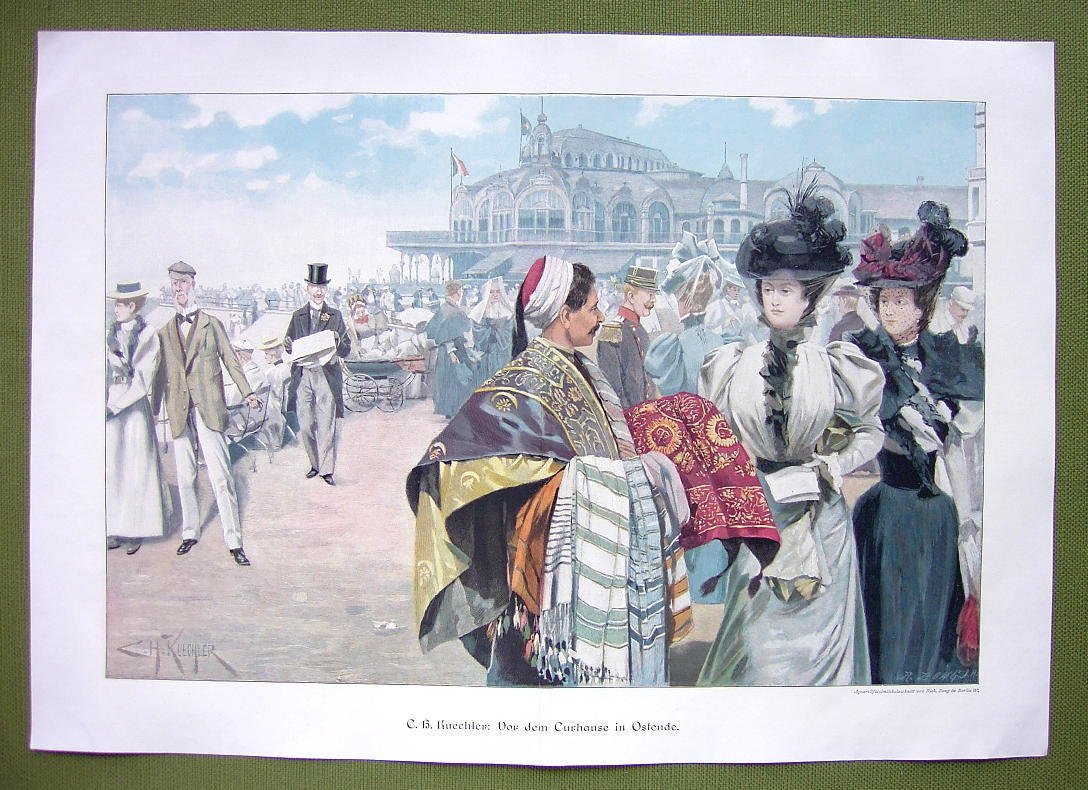 "OSTENDE SPAS Eastern Fabric Seller Ladies  - VICTORIAN Era Print 14"" x 21"" COLOR"