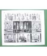 CHINA Temple at Honan Far East Gods & Deities - 1844 SUPERB Engraving Print - $18.51