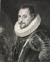 ORIGINAL ETCHING - Minister Marquis Spinola in Armor by Rubens - $23.56