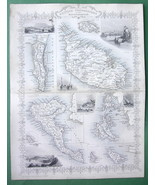 TALLIS MAP Antique Original 1851 - BRITISH PESS... - $71.53