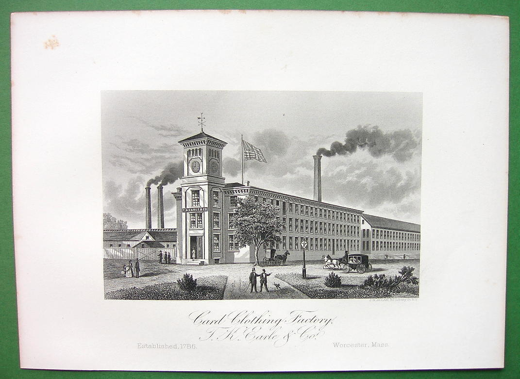 WORCESTER Massachusetts T.K. Earle Card Clothing Factory - 1876 Antique Print