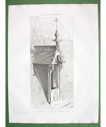 ARCHITECTURE PRINT : House of Jacques Coeur at Bourges Dormer Roof Windo... - $8.42