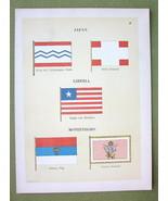 FLAGS Japan Liberia & Montenegro Prince's Standard - 1899 Color Litho Print - $11.78