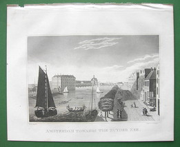 HOLLAND Amsterdam View of Zuyder Zee - 1830 Antique Print Engraving - $16.82