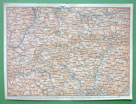 1896 MAP ORIGINAL Baedeker - ITALY North Alps B... - $5.89