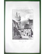 BELGIUM Bruges Chapel of St. Sang Courtyard - SUPERB Antique Print - $28.61
