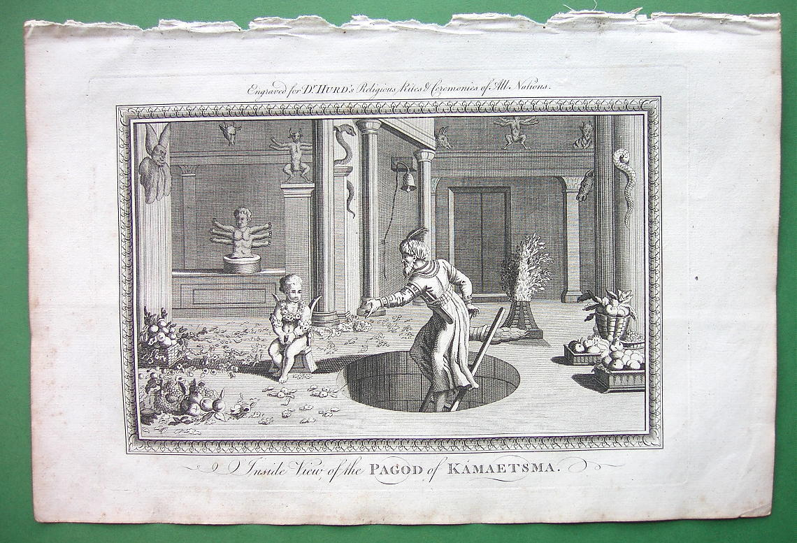 INDIA Fruits Rites in Pagoda of Kamaetzma - 1780 Engraving Antique Print