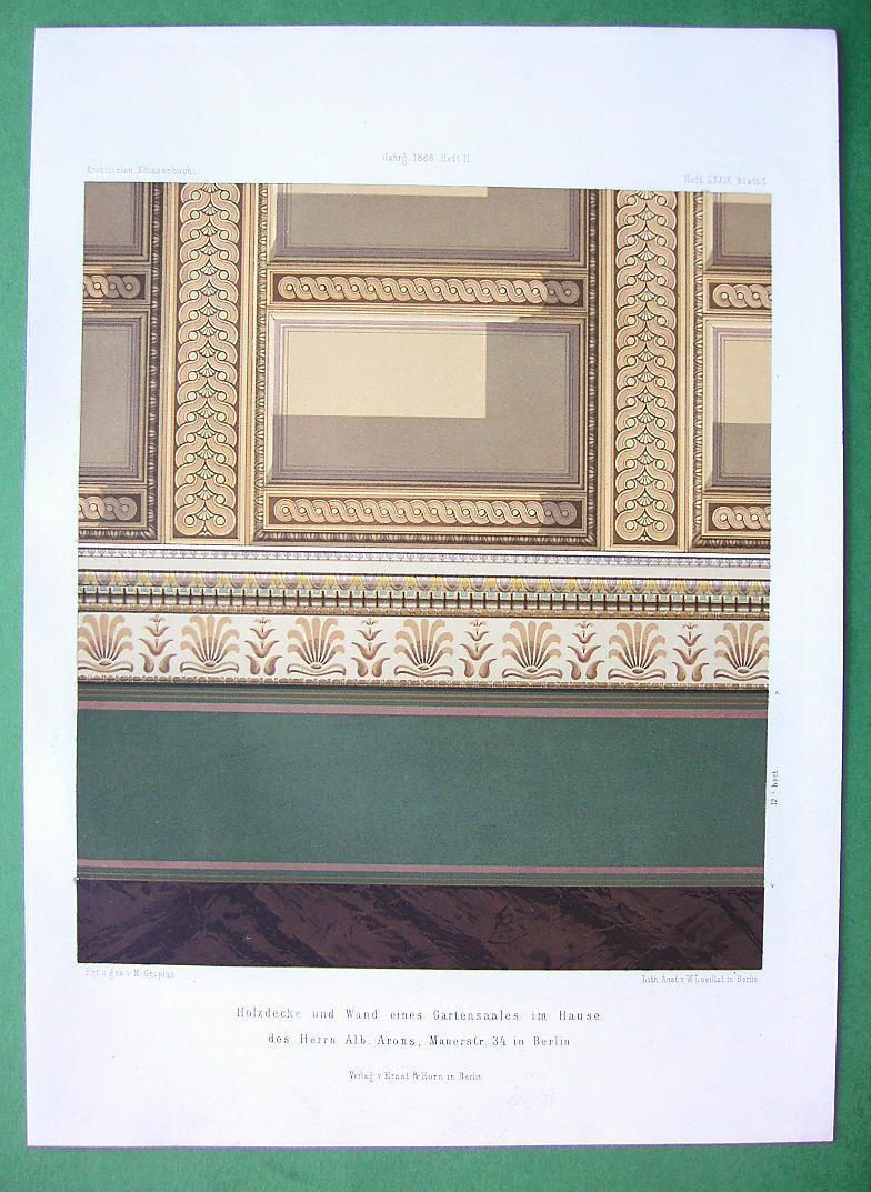 ARCHITECTURE COLOR PRINT : Berlin Mauerstrasse n. 34 Mansion Wood Carved Ceiling